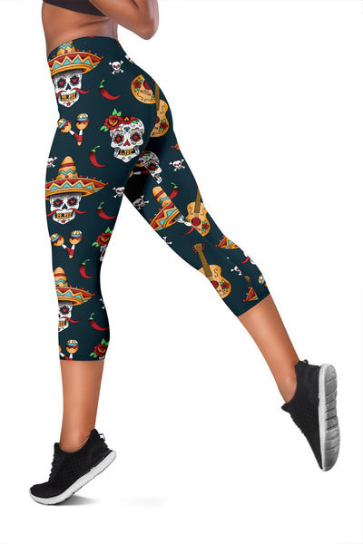 Sugar Skull Mexican Women Capris