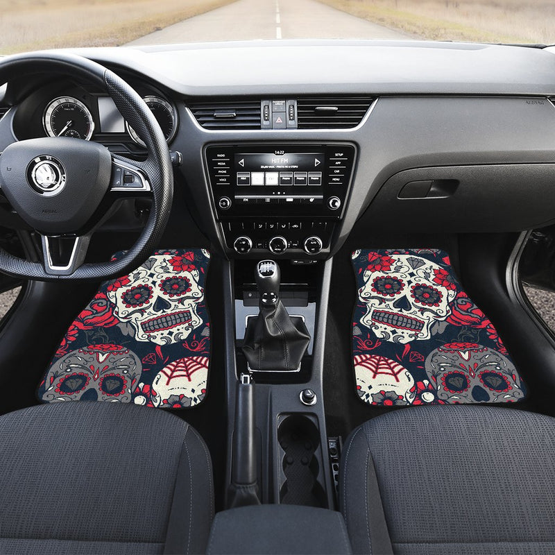 Sugar Skull Pattern Car Floor Mats