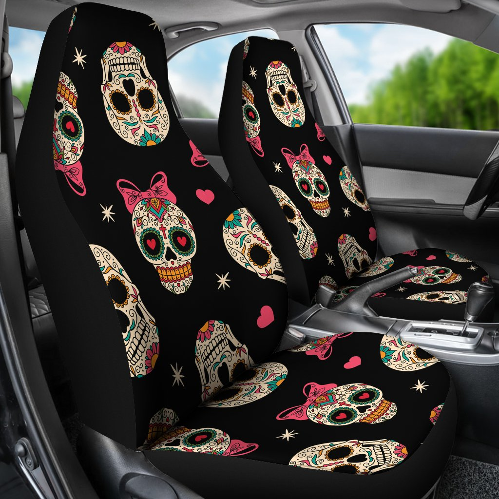 Excellent Sugar Skull Pink Bow Themed Print Universal Fit Car Seat Covers Machost Co Dining Chair Design Ideas Machostcouk