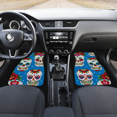 Sugar Skull Rose Pattern Car Floor Mats