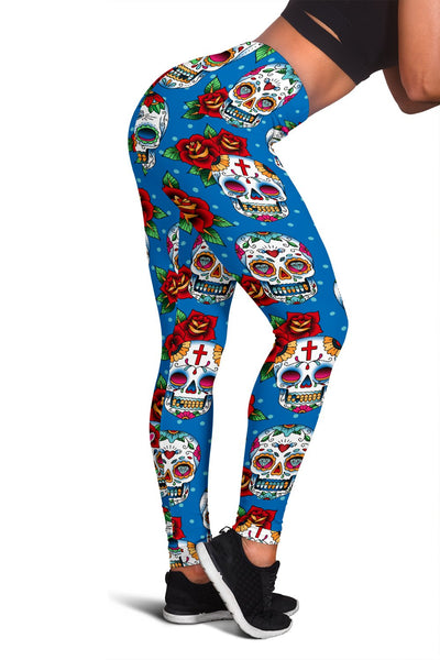 Sugar Skull Rose Pattern Women Leggings