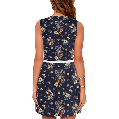 Summer Floral Pattern Print Design SF01 Sleeveless Mini Dress-JorJune