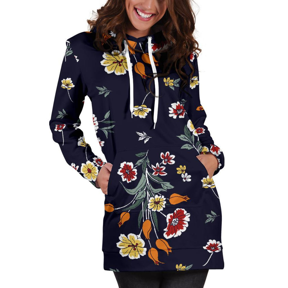 Summer Floral Pattern Print Design SF01 Women Hoodie Dress