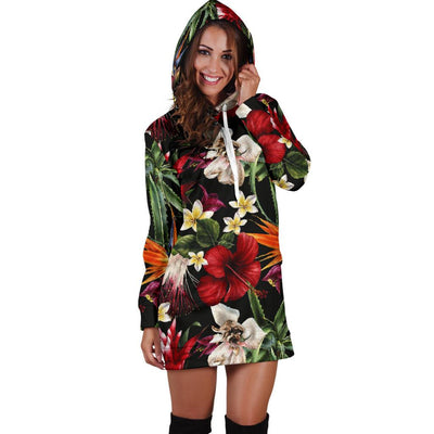 Summer Floral Pattern Print Design SF03 Women Hoodie Dress