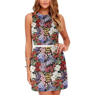 Summer Floral Pattern Print Design SF04 Sleeveless Mini Dress-JorJune