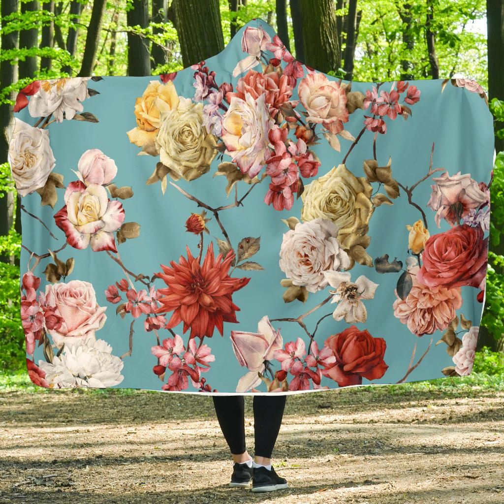 Summer Floral Pattern Print Design SF05 Hooded Blanket-JORJUNE.COM