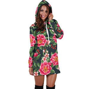 Summer Floral Pattern Print Design SF06 Women Hoodie Dress