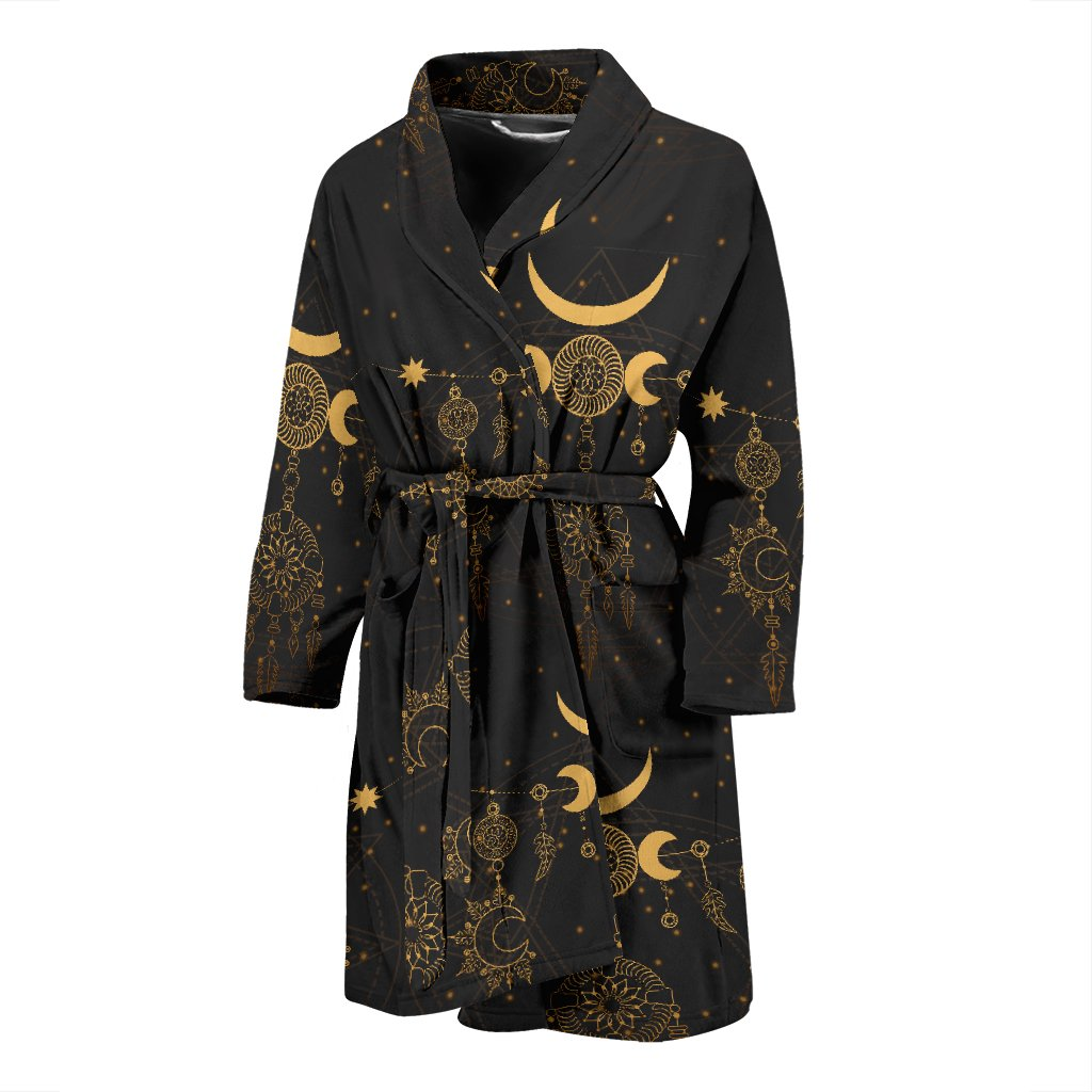 Sun Moon Boho Style Men Bath Robe