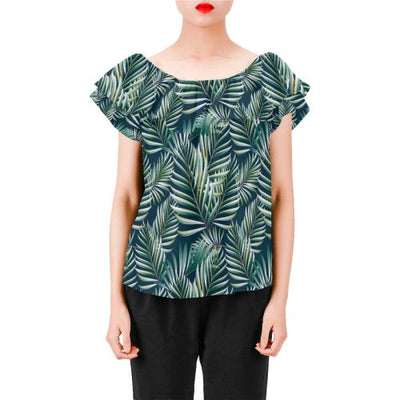 Sun Spot Tropical Palm Leaves Off Shoulder Ruffle Blouse