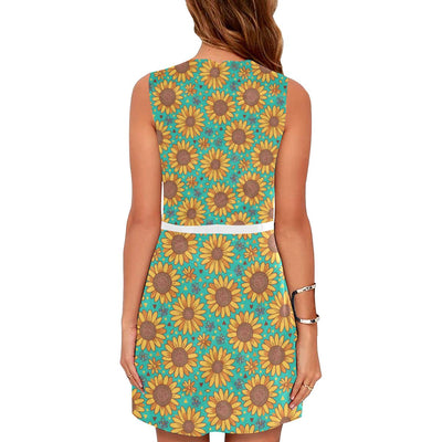 Sunflower Pattern Print Design SF013 Sleeveless Mini Dress-JorJune