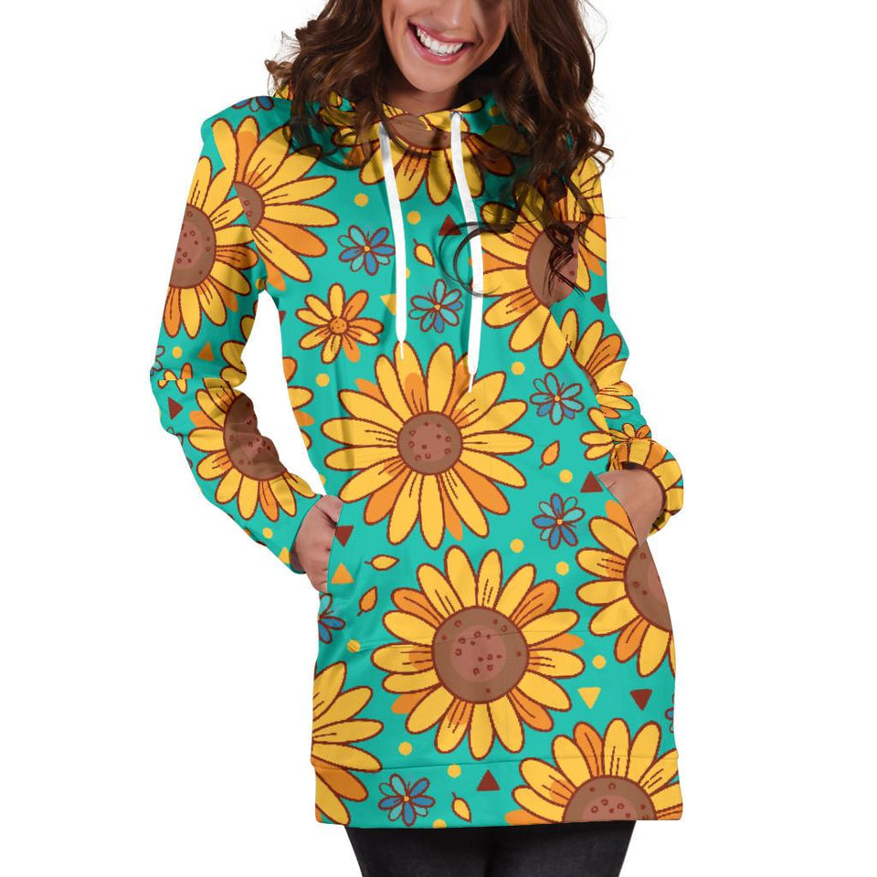 Sunflower Pattern Print Design SF013 Women Hoodie Dress