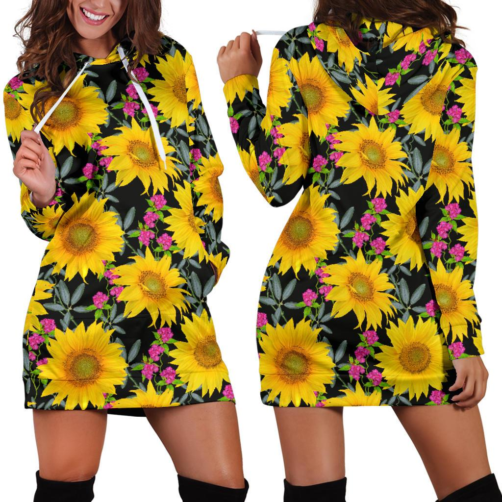 Sunflower Pattern Print Design SF014 Women Hoodie Dress