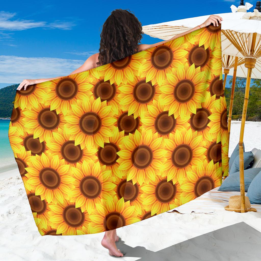 Sunflower Pattern Print Design SF07 Sarong Pareo Wrap-JORJUNE.COM