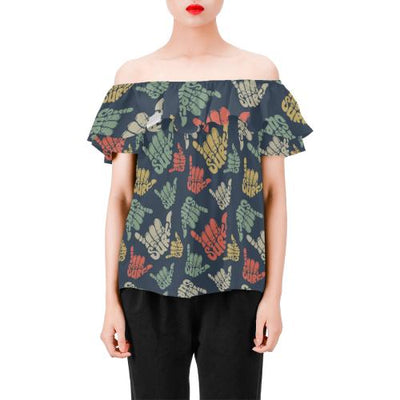 Surf Hand sign Off Shoulder Ruffle Blouse