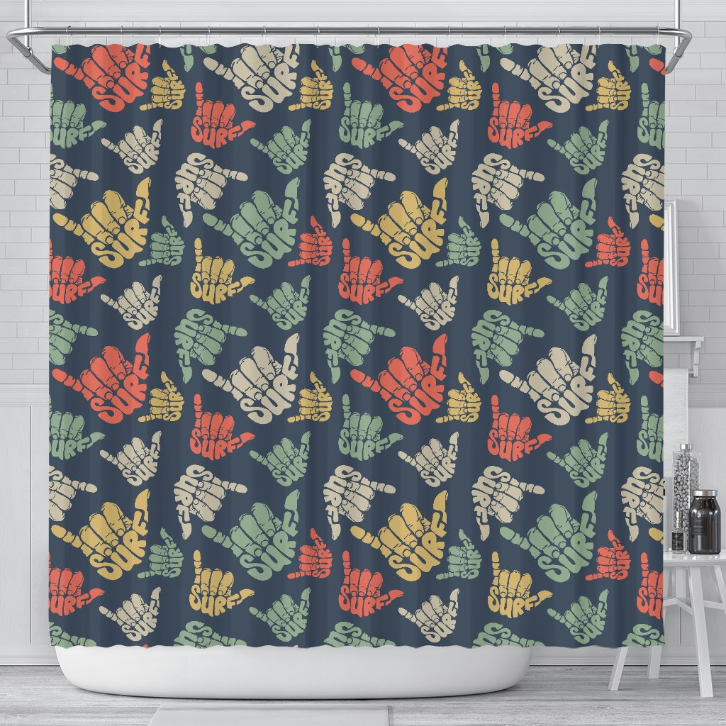Surf Hand Sign Shower Curtain