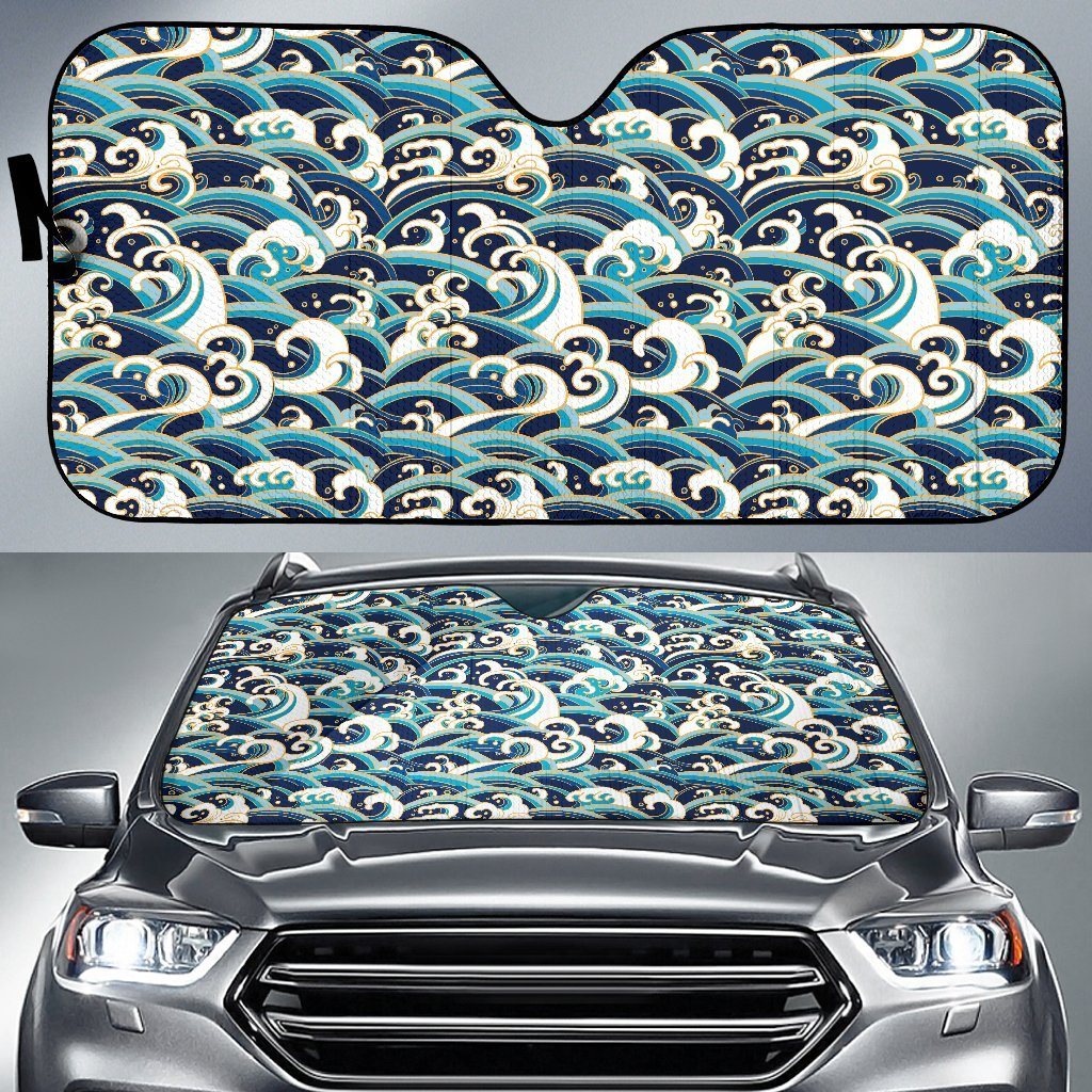 Surf Wave Pattern Car Sun Shade-JorJune