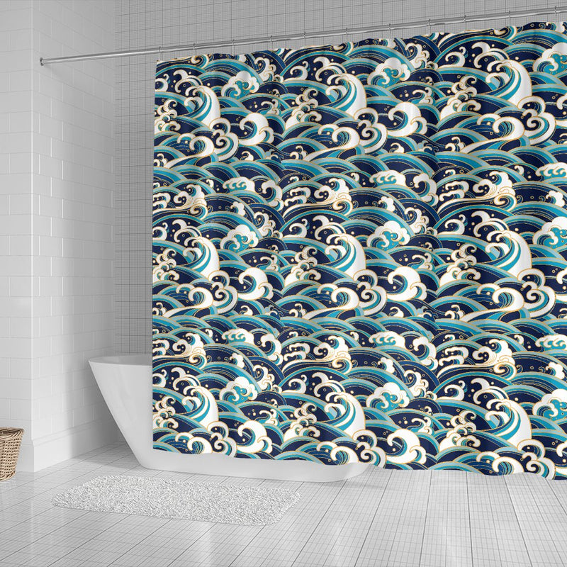 Surf Wave Pattern Shower Curtain
