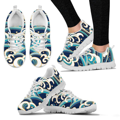 Surf Wave Pattern Women Sneakers