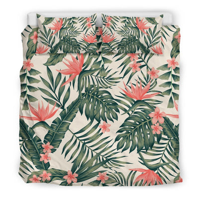 Plumeria Flower Tropical Palm Leaves Duvet Cover Bedding Set
