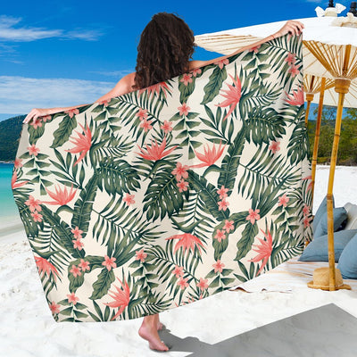 Plumeria Flower Tropical Palm Leaves Beach Sarong Pareo Wrap