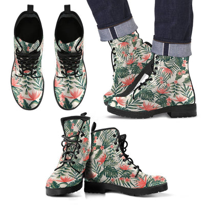 Plumeria Flower Tropical Palm Leaves Women & Men Leather Boots