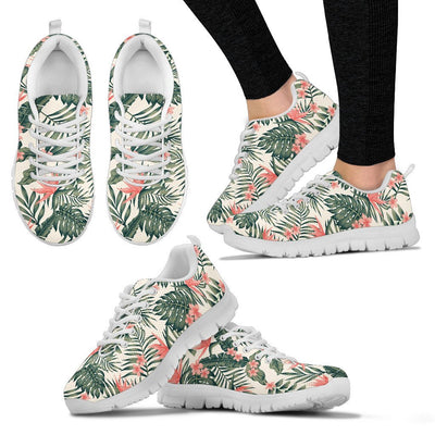 Plumeria Flower Tropical Palm Leaves Women Sneakers