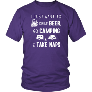 T-Shirts i just want to go camping drink beer hoodies sweatshirts Vnecks long sleeves CAMP1011