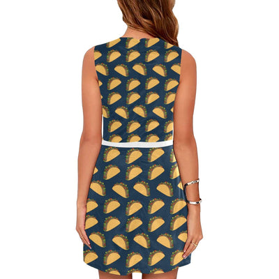 Taco Pattern Print Design TC04 Sleeveless Mini Dress-JorJune