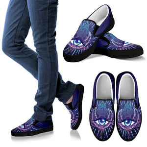 Third Eye Moon Mandala Men Canvas Slip On Shoes