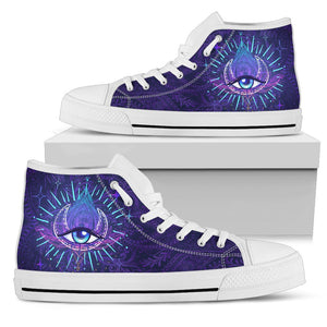 Third Eye Moon Mandala Men High Top Canvas Shoes