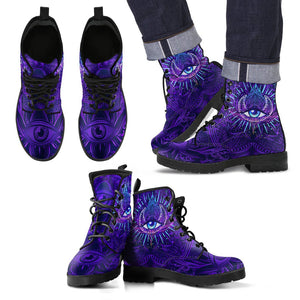 Third Eye Moon Mandala Women & Men Leather Boots