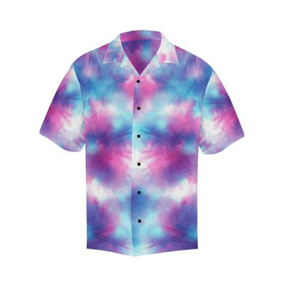 Tie Dye Blue Pink Men Hawaiian Shirt