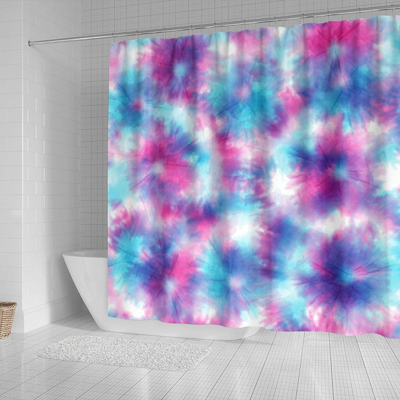 Tie Dye Blue Pink Shower Curtain