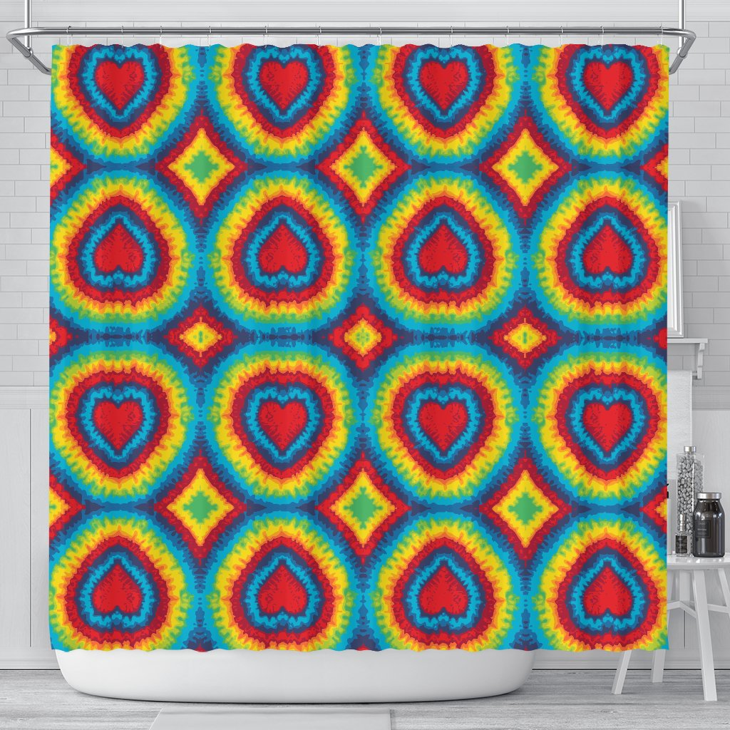 Tie Dye Heart Shape Shower Curtain