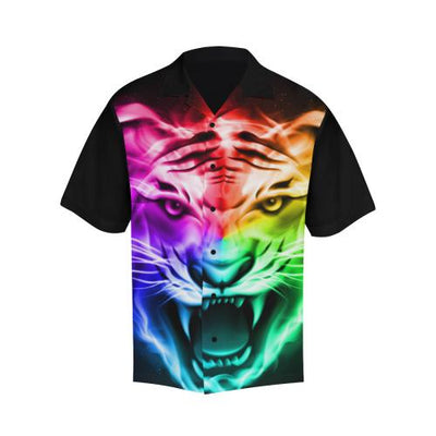 Tiger Head Colorful Men Hawaiian Shirt