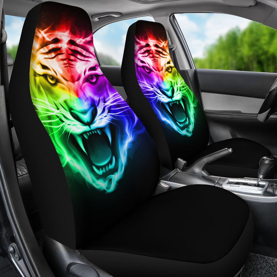 Tiger Head Colorful Universal Fit Car Seat Covers