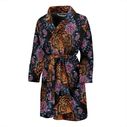 Tiger Head Floral Men Bath Robe