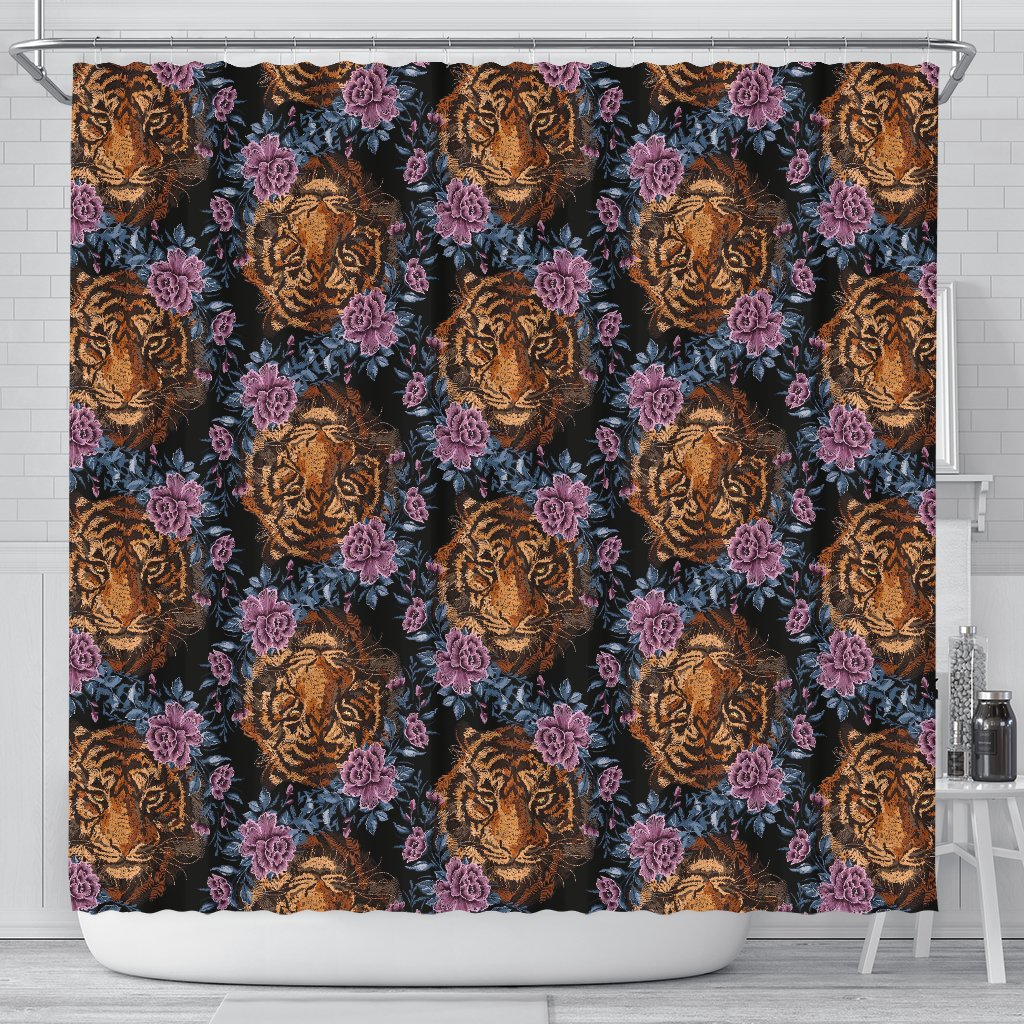 Tiger Head Floral Shower Curtain