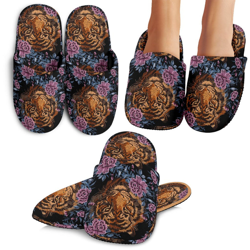 Tiger Head Floral Slippers