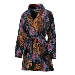 Tiger Head Floral Women Bath Robe