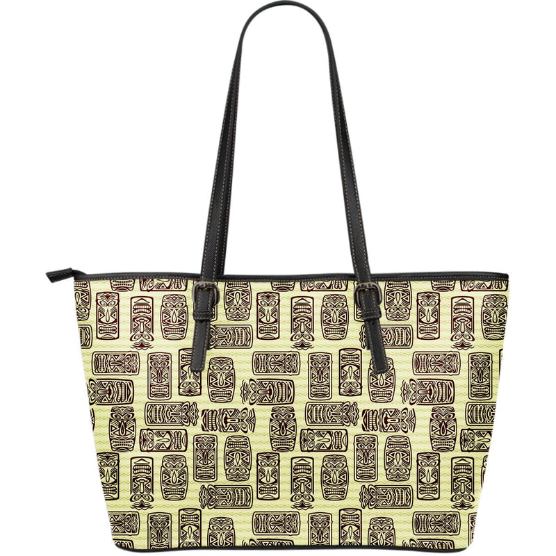 Tiki Brown Mask Print Large Leather Tote Bag