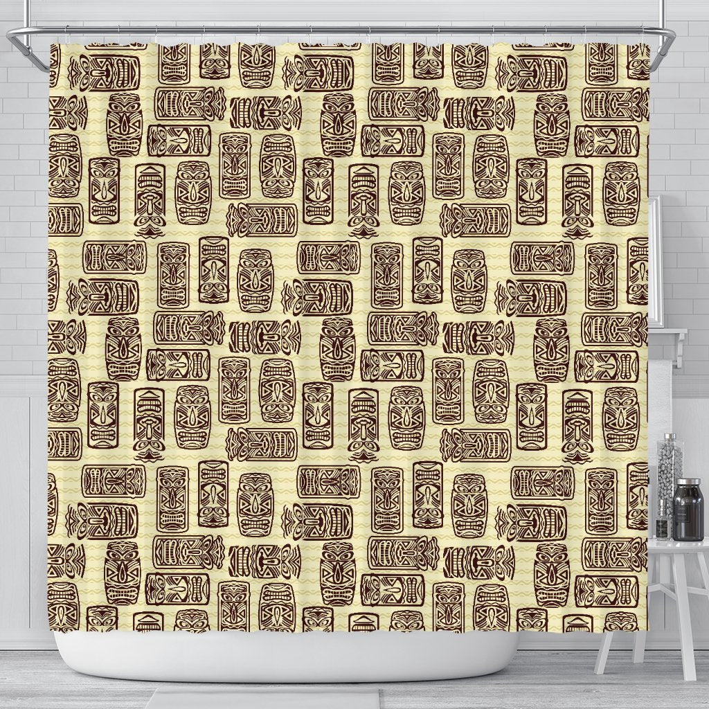 Tiki Brown Mask Print Shower Curtain