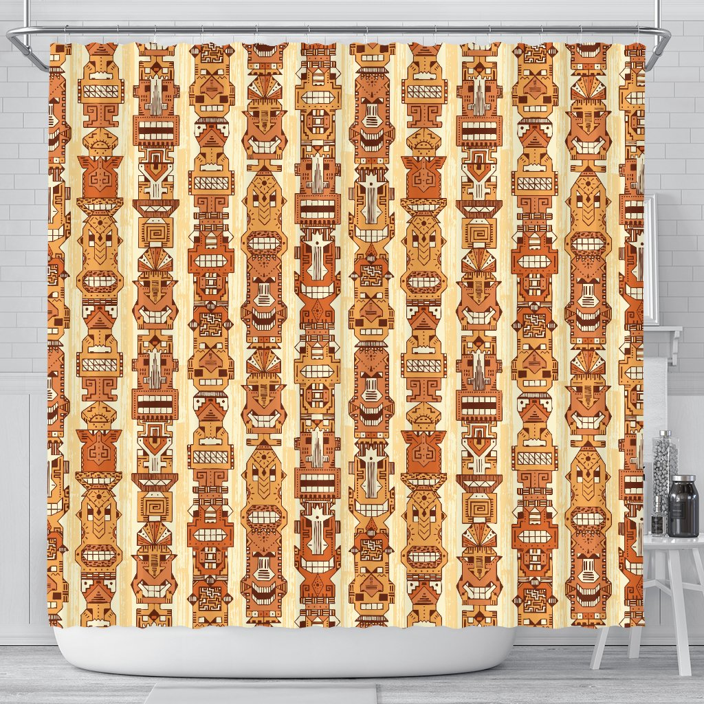 Tiki Orange Vertical Pattern Shower Curtain