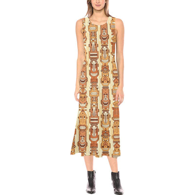 Tiki Orange Vertical Pattern Sleeveless Open Fork Long Dress