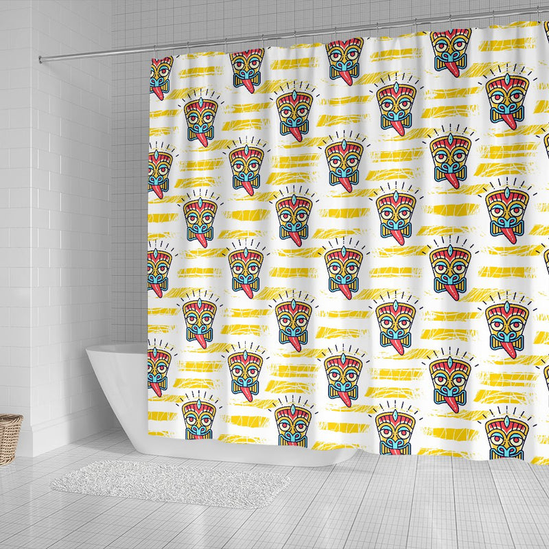 Tiki Smile Mask Print Pattern Shower Curtain
