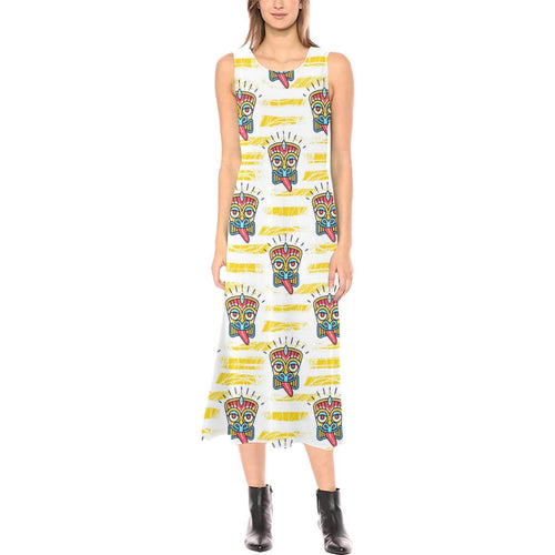 Tiki Smile Mask Print Pattern Sleeveless Open Fork Long Dress