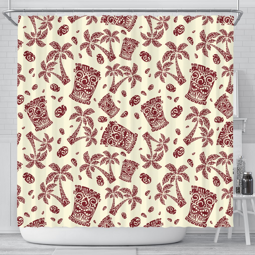 Tiki Tribal Mask Palm Tree Shower Curtain