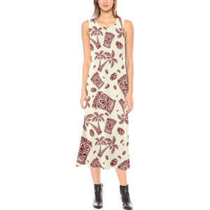Tiki Tribal Mask Palm Tree Sleeveless Open Fork Long Dress