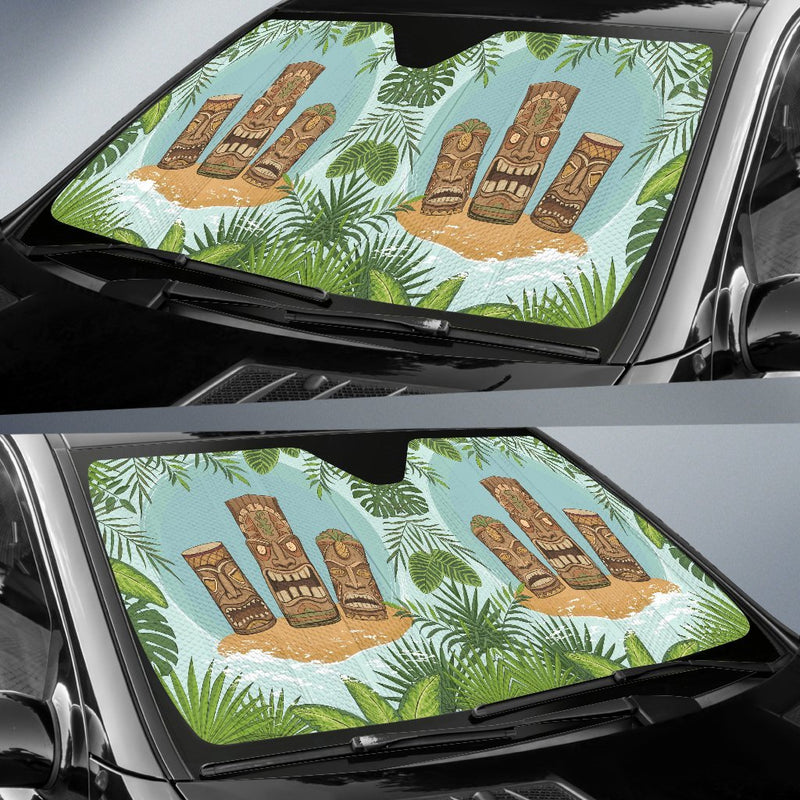 Tiki Wood Island Car Sun Shade-JorJune