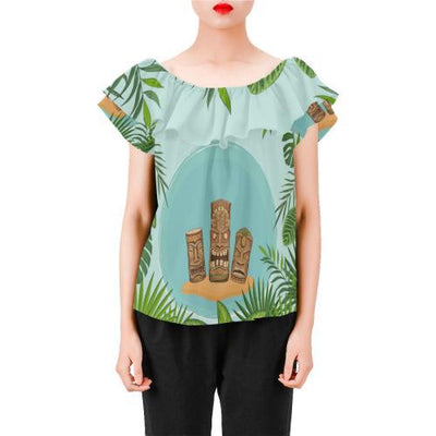 Hawaiian Polynesian Tiki Off Shoulder Ruffle Blouse
